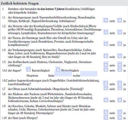 Gesundheitsfragen (Ausschnitt) der Alten Leipziger