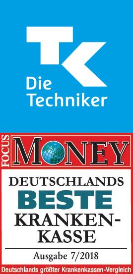 TK Logo und Focus Money Beste Krankenkasse 2018